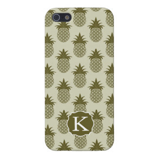 Khaki Pineapple Pattern   Add Your Initial iPhone 5/5S Cases