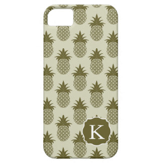 Khaki Pineapple Pattern   Add Your Initial iPhone 5 Case
