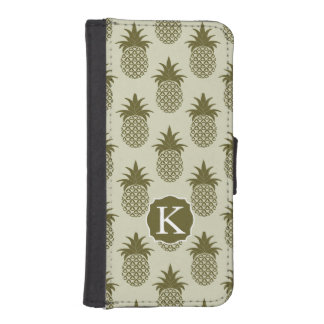 Khaki Pineapple Pattern | Add Your Initial iPhone SE/5/5s Wallet Case