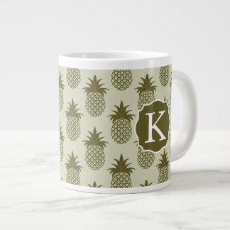 Khaki Pineapple Pattern | Add Your Initial Large Coffee Mug