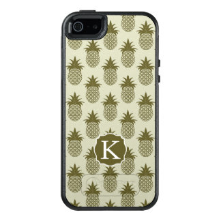 Khaki Pineapple Pattern | Add Your Initial OtterBox iPhone 5/5s/SE Case