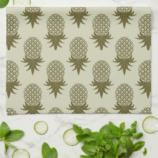 Khaki Pineapple Pattern | Add Your Initial Tea Towel