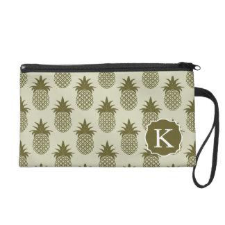 Khaki Pineapple Pattern | Add Your Initial Wristlet Clutch