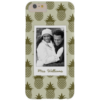 Khaki Pineapple Pattern | Add Your Photo & Name Barely There iPhone 6 Plus Case