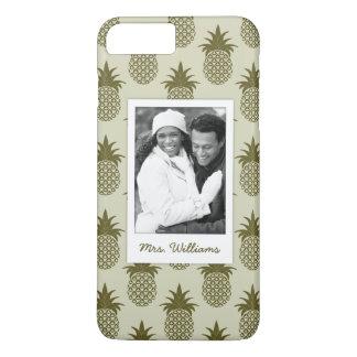Khaki Pineapple Pattern| Add Your Photo & Name iPhone 8 Plus/7 Plus Case