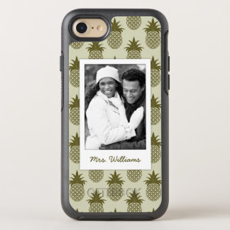 Khaki Pineapple Pattern | Add Your Photo & Name OtterBox Symmetry iPhone 8/7 Case
