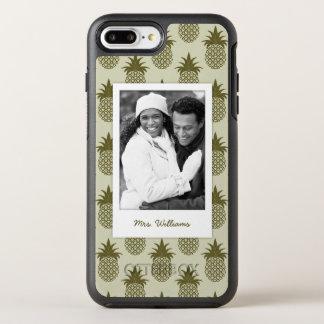 Khaki Pineapple Pattern | Add Your Photo & Name OtterBox Symmetry iPhone 8 Plus/7 Plus Case