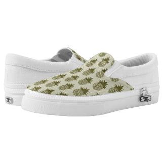 Khaki Pineapple Pattern Slip-On Shoes