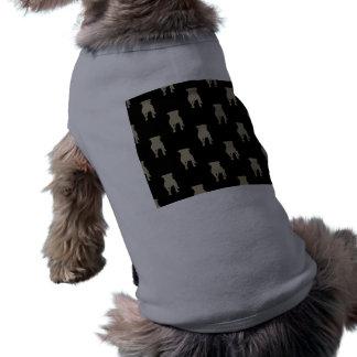 Khaki Pug Silhouettes on Black Background Sleeveless Dog Shirt