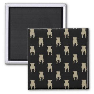 Khaki Pug Silhouettes on Black Background Square Magnet