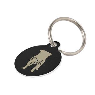 Khaki Pug Silhouettes on Black Background Pet Tag