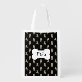 Khaki Pug Silhouettes on Black Background Reusable Grocery Bag