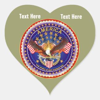 Khaki River Heart Stickers