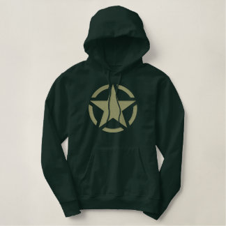 Khaki Star Vintage Decal Large Embroidery Embroidered Hoodie