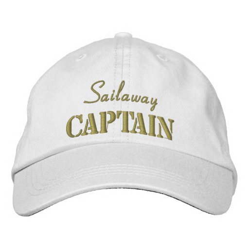 Khaki White Nautical Captain Custom Embroidered Hat