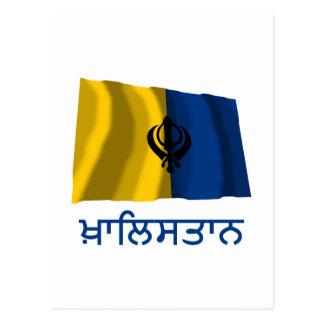 Khalistan Waving Flag with Name in Punjabi Postcard