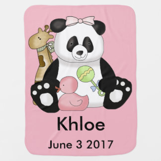 Khloe's Personalized Panda Baby Blanket