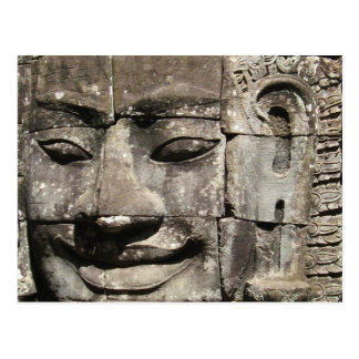 Khmer Stone Face Bayon Temple Cambodia Postcard