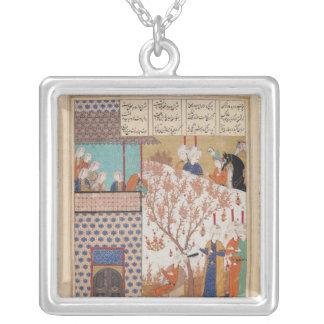 Khosro before Shirin's Palace Square Pendant Necklace