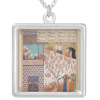 Khosro before Shirin's Palace Silver Plated Necklace