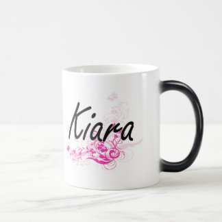 Kiara Artistic Name Design with Flowers Morphing Mug
