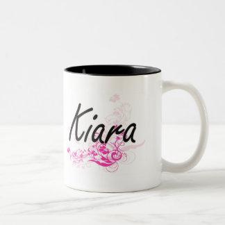 Kiara Artistic Name Design with Flowers Two-Tone Mug