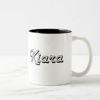 Kiara Classic Retro Name Design Two-Tone Mug