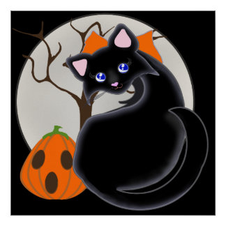 Kiara Toon Kitty Black Cat Moon & Tree Poster