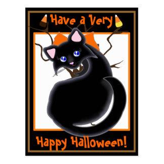 Kiara Toon Kitty Black Cat With Tree Postcard2 Postcard