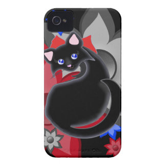 Kiara Toon Kitty Petal Flowers with Blue Case iPhone 4 Covers