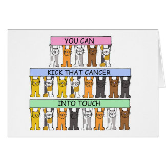 Kick cancer into touch cartoon cats. greeting card