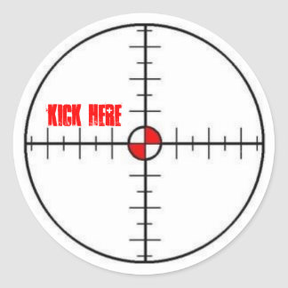 kick here classic round sticker