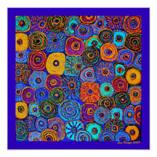 Kick It Up! Circles Flowers Poster signed