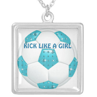 KICK LIKE A GIRL ~ Diamond Gemstones Aqua Soccer B Silver Plated Necklace