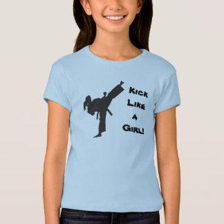 Kick Like a Girl Martial Arts Tae Kwon Do Ponytail T Shirt