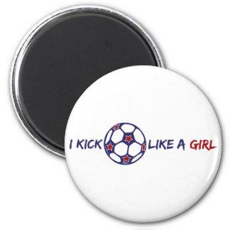 Kick Like A Girl (Soccer) 6 Cm Round Magnet