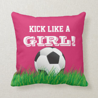 Kick Like A Girl! Soccer Football Ball Pink Pillow Cushion