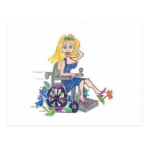 Kick up some Flowers in a wheel-chair Post Card