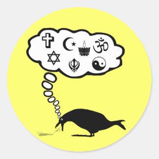 Kickass atheist round sticker