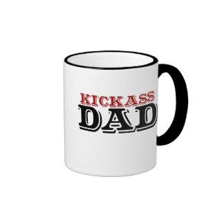 Kickass Dad for Fathers Day Ringer Mug