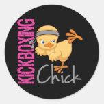Kickboxing Chick Round Sticker