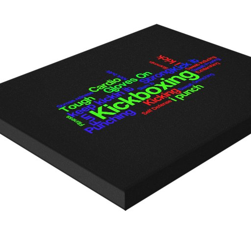 Kickboxing Word Cloud Bright on Black Gallery Wrapped Canvas