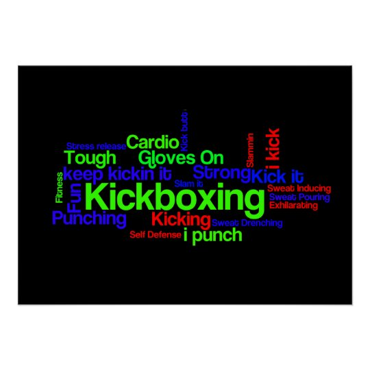 Kickboxing Word Cloud Bright on Black Poster