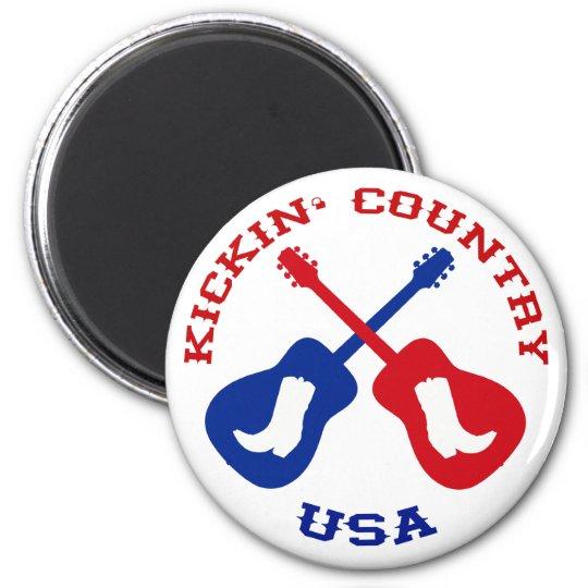 Kickin' Country USA 6 Cm Round Magnet