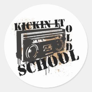 Kickin It Old School Round Sticker