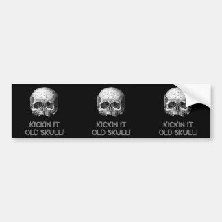 Kickin it Old Skull 3 in 1 Bumper Stickers