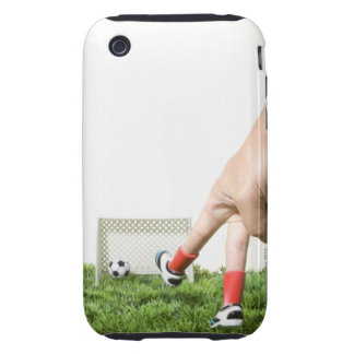 Kicking a soccer ball with finger imitating iPhone 3 tough cover