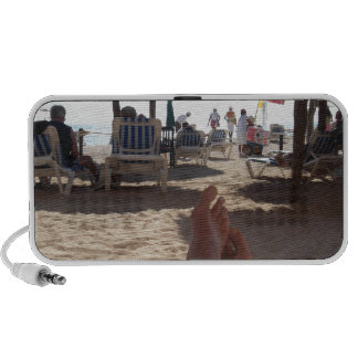 Kicking at the beach travelling speaker