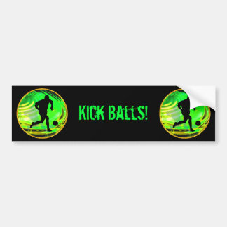 Kicking Balls in Green and Gold Car Bumper Sticker