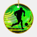 Kicking Balls in Green and Gold Christmas Tree Ornament
